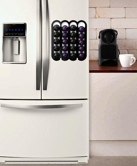 Black Nespresso pod holder, nespresso capsule holder Magnetic coffee holder Holds 20 storage Coffee Nespresso Pod Stand kitchen decor Gift