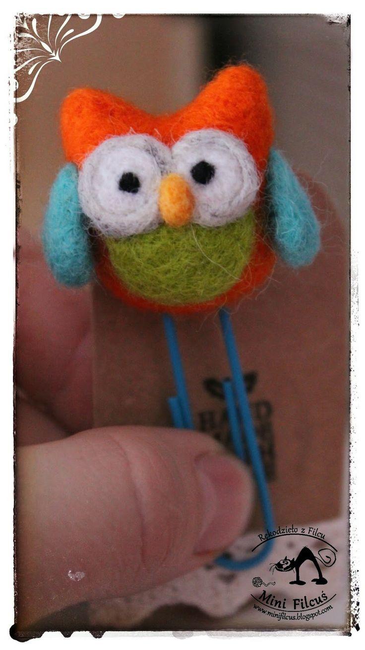 Owl - felted clip http://minifilcus.blogspot.com/2014/02/sowia-wymiana.html