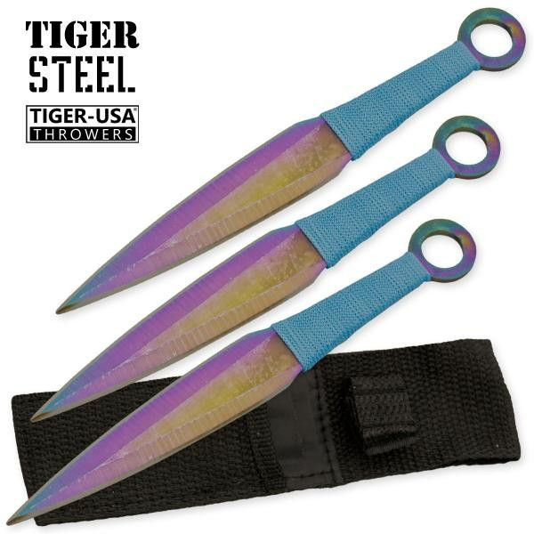 3 Pc Rainbow Finish Throwing Knive Set - Full Tang 3 pc ZOMBIE KILLER throwing knives - Double Edged both edges are sharp - Blade: Titanium Rainbow Finish - Overall Length 6-1/4 - Blue Nylon Wrapped H