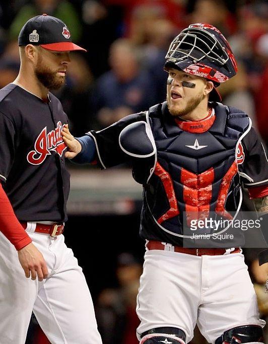 Corey Kluber Roberto Perez Cle Oct 25 2016 Game 1 World Series V Chc Cubs World Series World Series Cleveland Indians