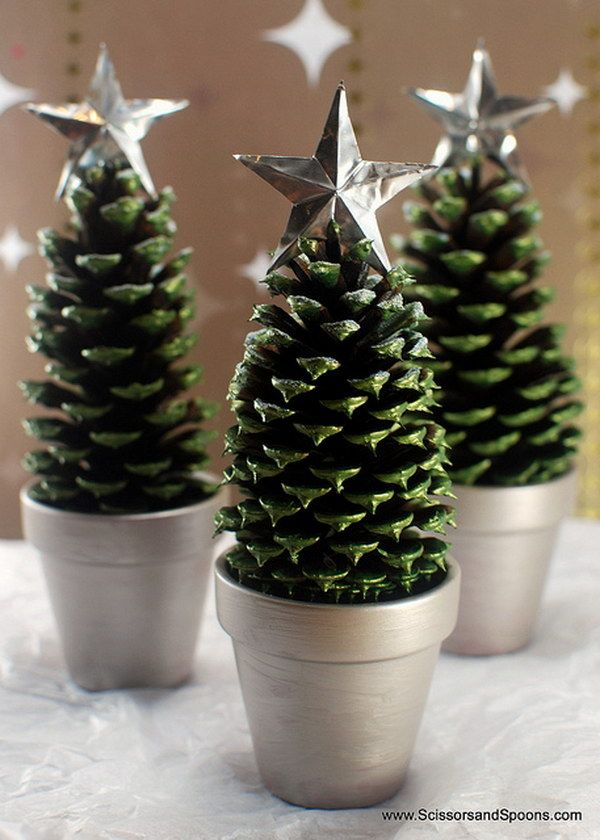 Even a single pine cone could be painted in lovely green shade and topped with a star to become a cute tiny Christmas tree.