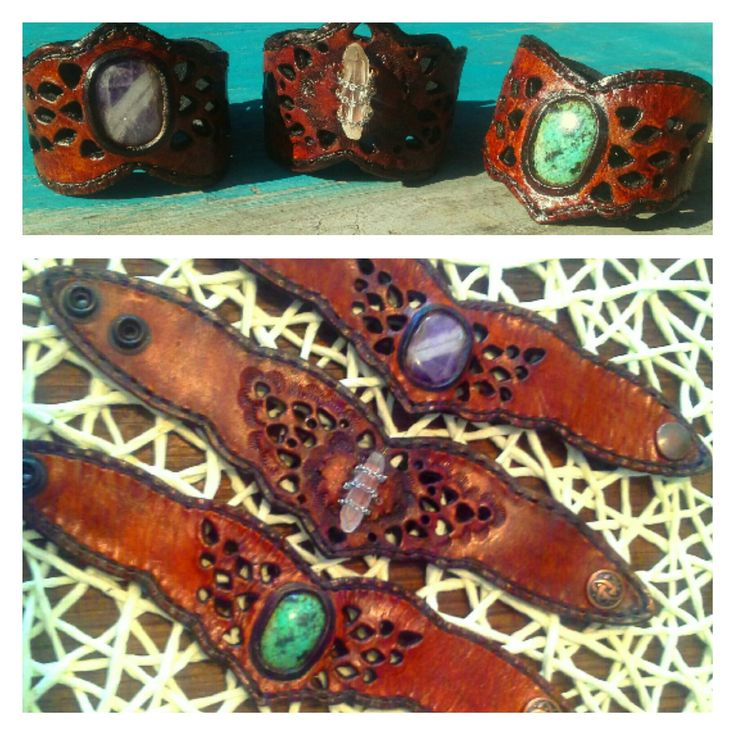 Gypsy jewels leather gemstone cuff