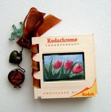 Tiny book made from old picture slides