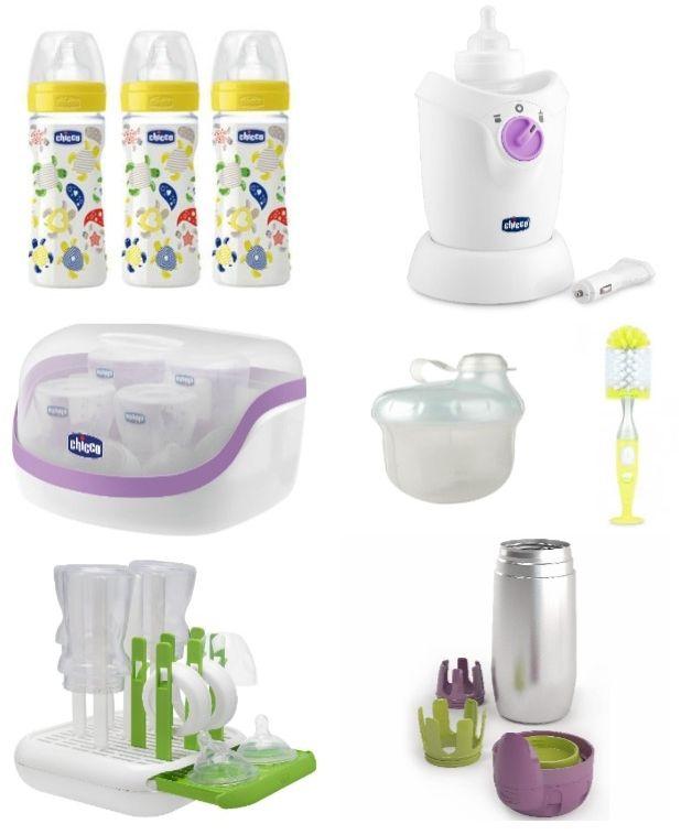 Per facilitare l'allattamento artificiale il kit biberon della Chicco è composto da: 3 biberon benessere, scaldabiberon casa-auto, sterilizzatore per microonde...