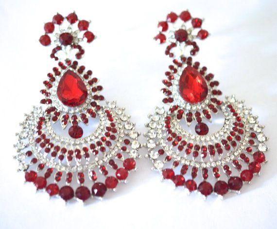 Silver Earring Red Crystal Chandelier Wedding Bridal Bollywood