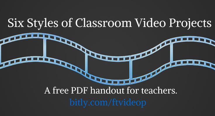 Six Styles of Classroom Video Projects & Tools for Making Those Videos - A Handout. http://www.freetech4teachers.com/2015/05/six-styles-of-classroom-video-projects.html …