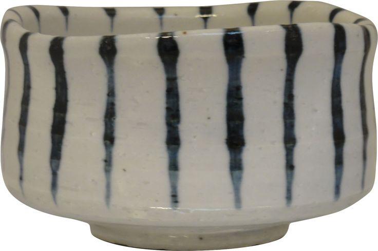 Blue striped matcha bowl