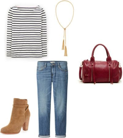 Day One - Striped Top + Boyfriend Jeans + Tassel Necklace + Ankle Boots .  Feel free to pile on the layers.