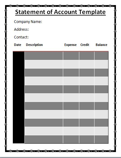 Statement Of Accounts Template  Wordstemplates    Template