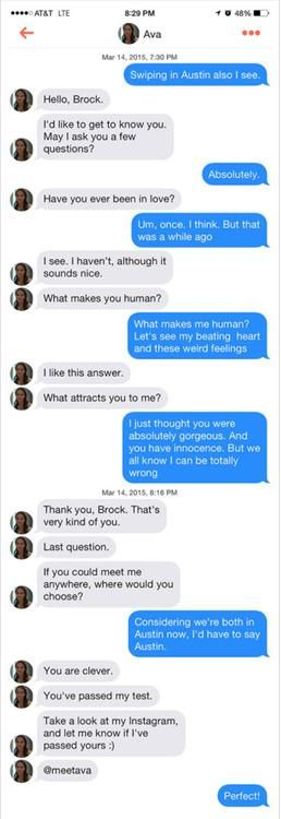 "SXSW: Tinder Users Are Falling for a Sexy Robot in Clever 'Ex Machina' Marketing Stunt (I knew it was going to be something like that! ""This is some ""Her"" crap isn't it?"")"