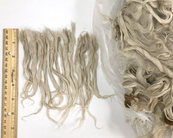 RAW 7 inch Suri Alpaca locks, 4. Tricolored White, reroot Blythe hair bjd Waldorf doll wig long weft