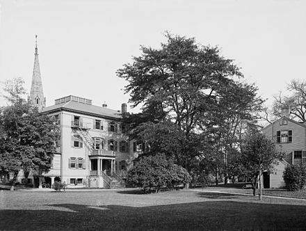 Among the earliest buildings at Radcliffe College were the Fay House and the gymnasium (photo c.1904).