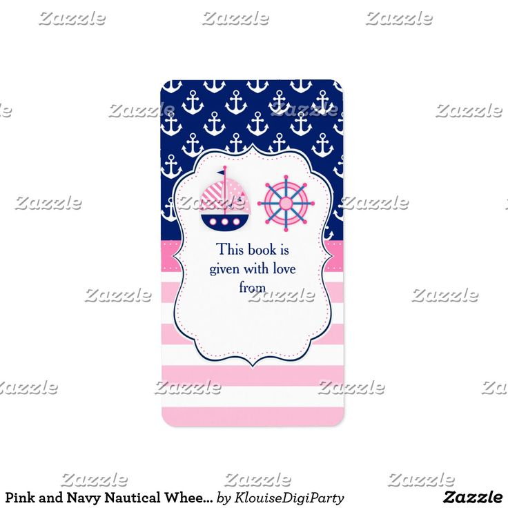 Pink and Navy Nautical Wheel Baby Shower Bookplate