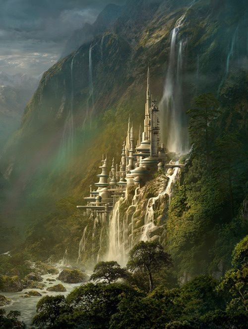 2/5/14  10:16a  Hidden  Fantasy: Castle  Waterfalls over   Sheer High Cliff art7d.b/virtualmuseum.com