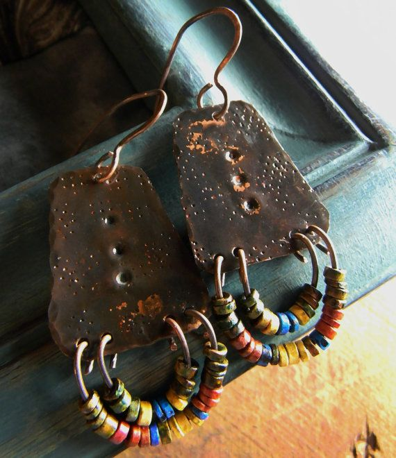 Hammered Copper Earrings Colorful Mykonos Rustic by ChrysalisToo