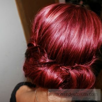 #hair #updo #red #raspberry
