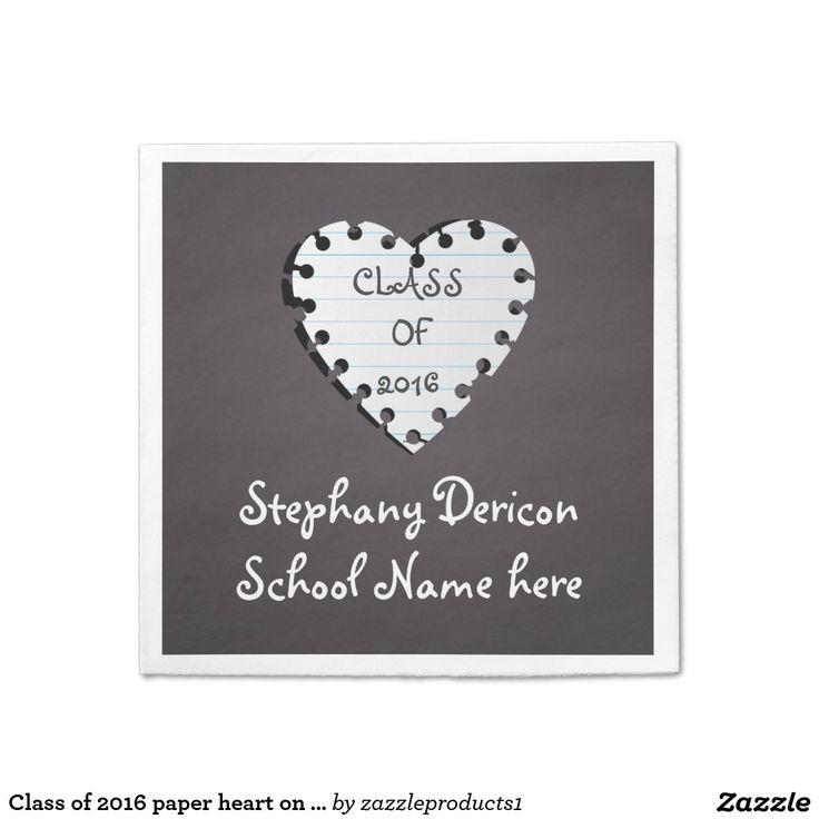 #Classof2016 paper heart on #chalkboard graduation #papernapkin