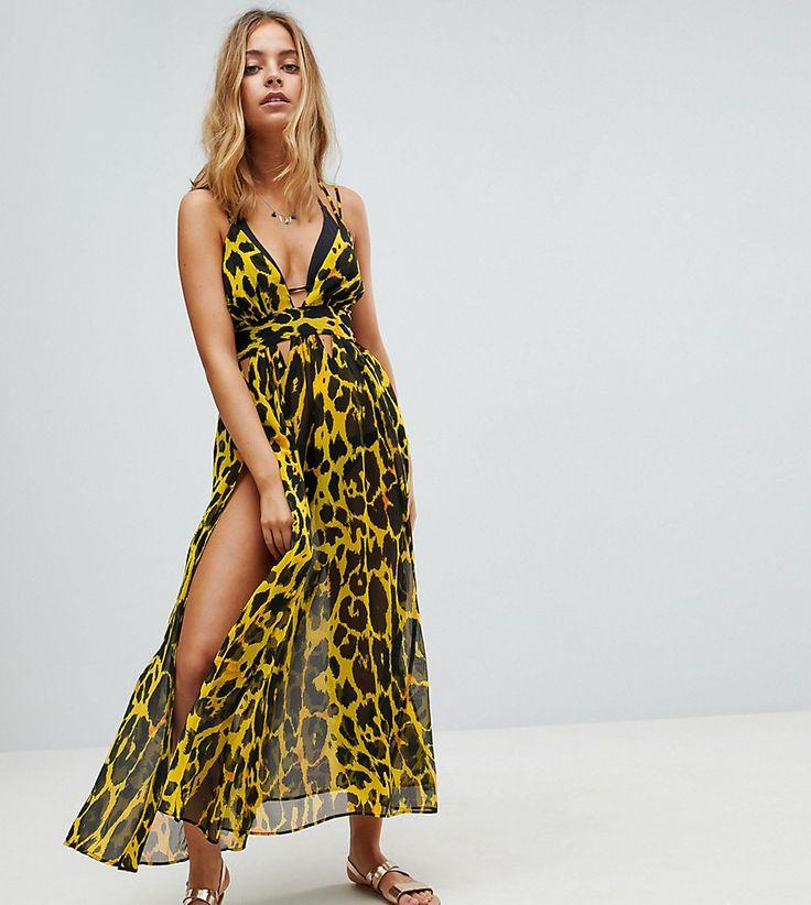 ASOS PETITE Cheetah Print Plunge Chiffon Maxi Beach Dress - Multi