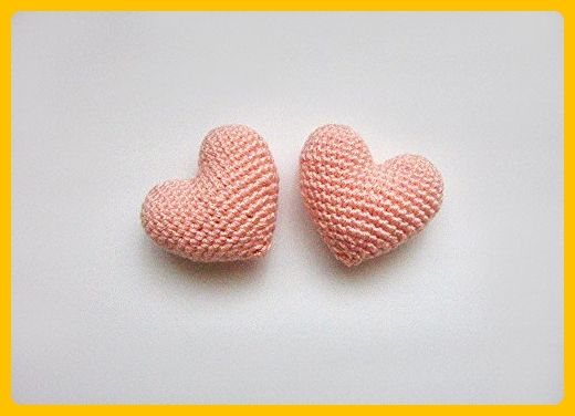 Amigurumi Crochet Pinkish Orange Heart (Set of 2) - Cake topper - Wedding table decor - Birthday party decoration - Cake and cupcake toppers (*Amazon Partner-Link)