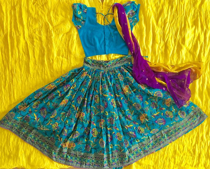 Peacock blue gopi skirt for kids • Indian ethnic wear • gopi skirt by Kasumbal on Etsy https://www.etsy.com/uk/listing/521827139/peacock-blue-gopi-skirt-for-kids-indian