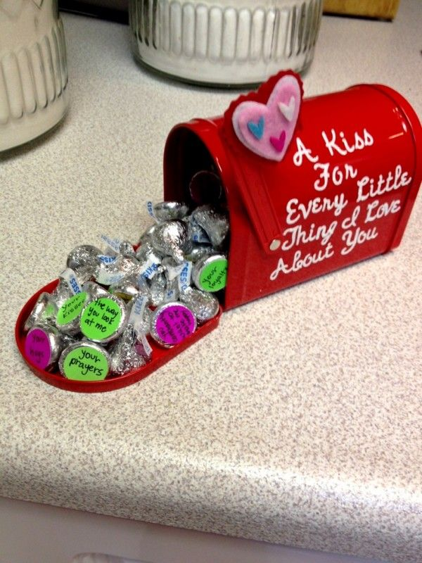Little Valentine mailbox with messages on the bottoms of Hershey kisses