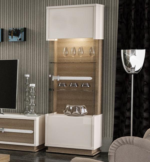 Elara Modern 1 Door Display Cabinet In Ivory Walnut Effect Finish Lights Included High Gloss Furniture Display Cabinet Modern Cabinet Design