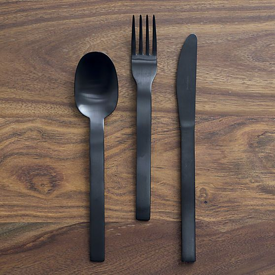 3 Piece Matte Black Flatware Set