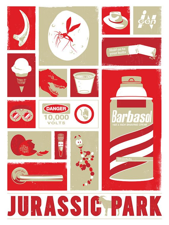 """""""Jurassic Park"""" Print by jefflangevin on Etsy. I really like the tiny quotes imbeded in some of the images."""
