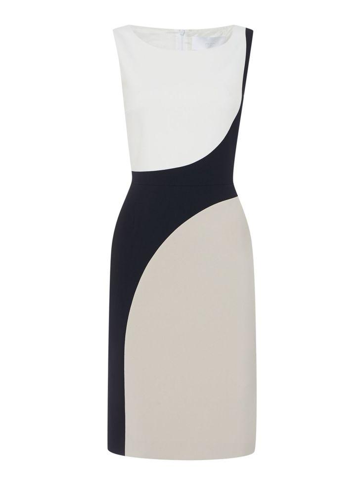 Hugo Boss Dikrysa Tri-Colour Circle Shift Dress, Multi-Coloured