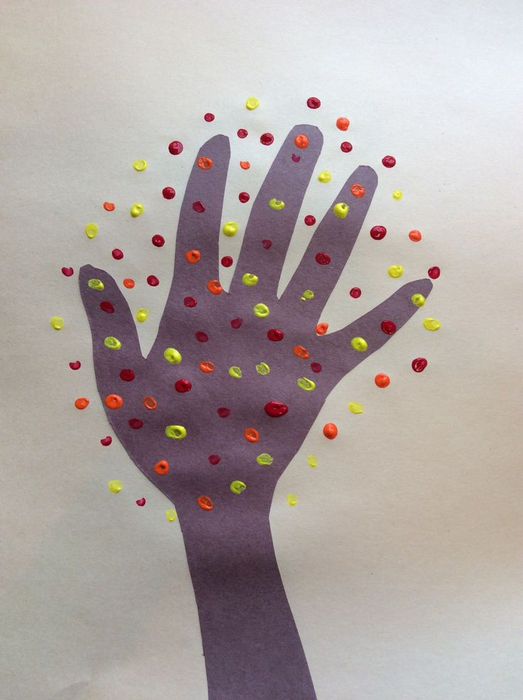 Autumn hand trees: trace your hand, cut it out, glue it on, dot with paint for leaves. Great fine motor, cutting and visual motor activity.