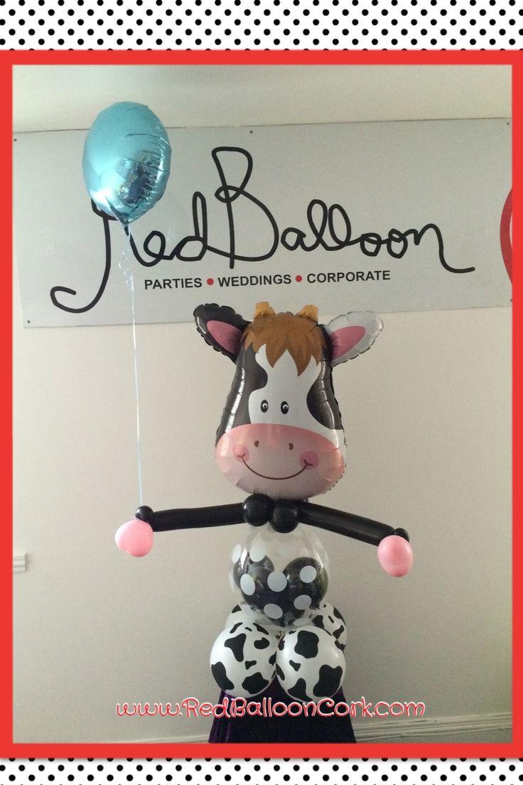 Cow, Balloon, Gift, Red Balloon, Cork,