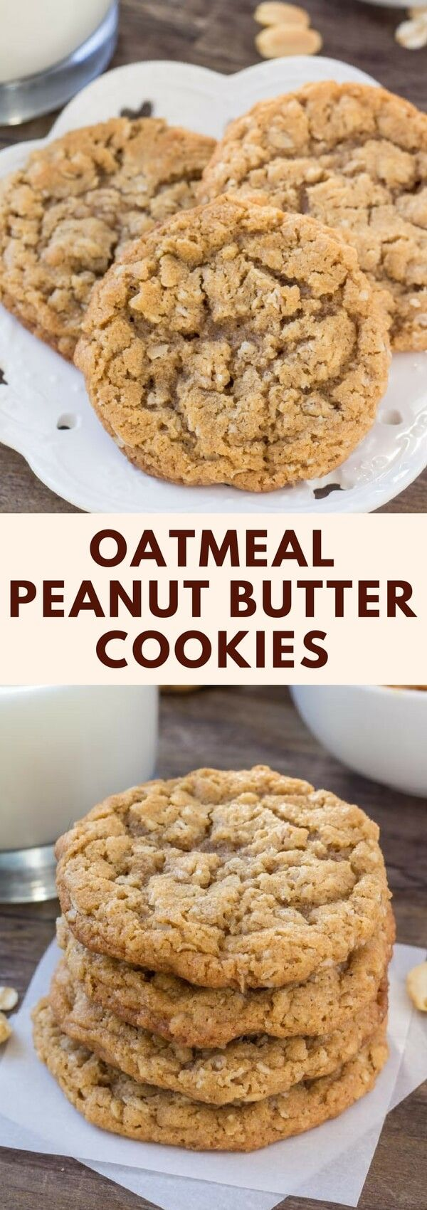 These peanut butter oatmeal cookies are soft, chewy and filled with peanut butter goodness. The oatmeal adds tons of texture, and it's a quick and easy recipe that all peanut butter fans are sure to love. #cookies #peanutbutter #recipes #oatmeal