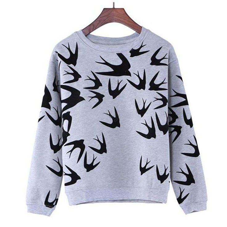 Swallow Printing Casual Long Sleeve Sweatshirt