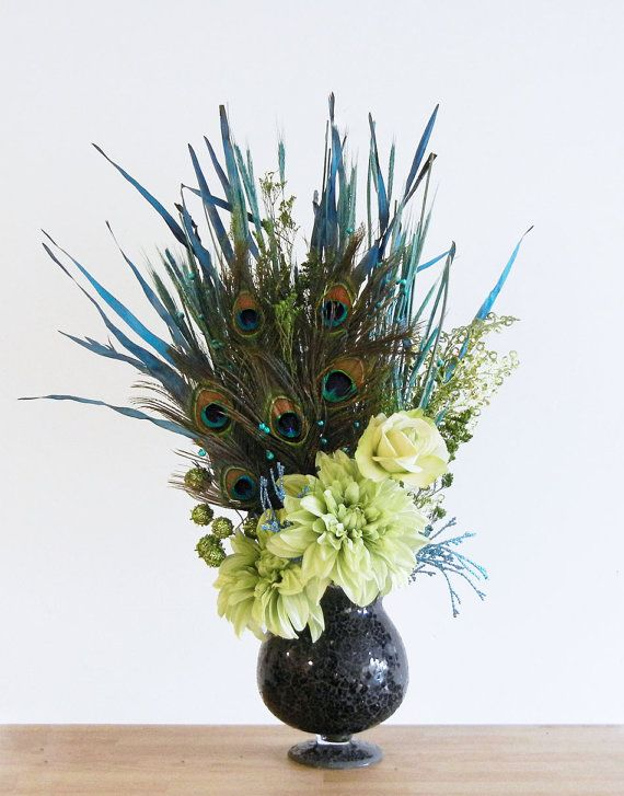 Green And Blue Peacock Feather Floral Arrangement In Black Glass Vase Pretty As A Peacock