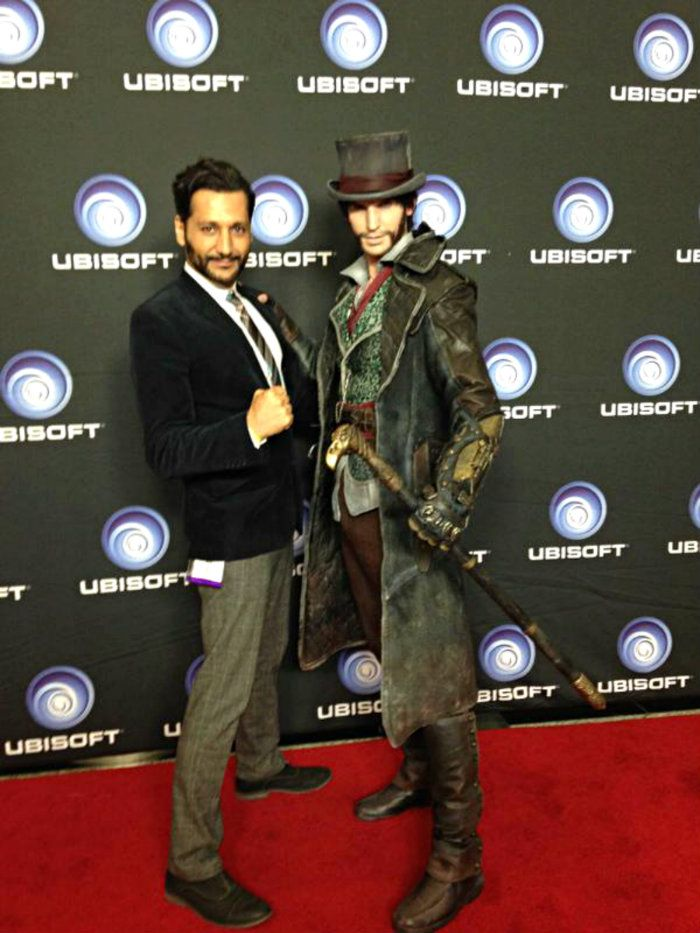 How awesome we get to see in photo in Ubisoft VIP party with Cas Anvar and Rick Boer as Jacob Frye together!!  #FollowTheCreed
