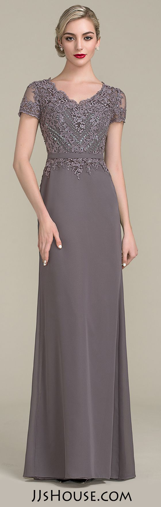 A Line Princess V Neck Floor Length Chiffon Lace Mother Of The Bride Dress With Beading Sequins In Slate Grey