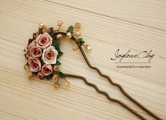 brown polymer clay rose hair stick hair accessories by Joyloveclay, $32.00