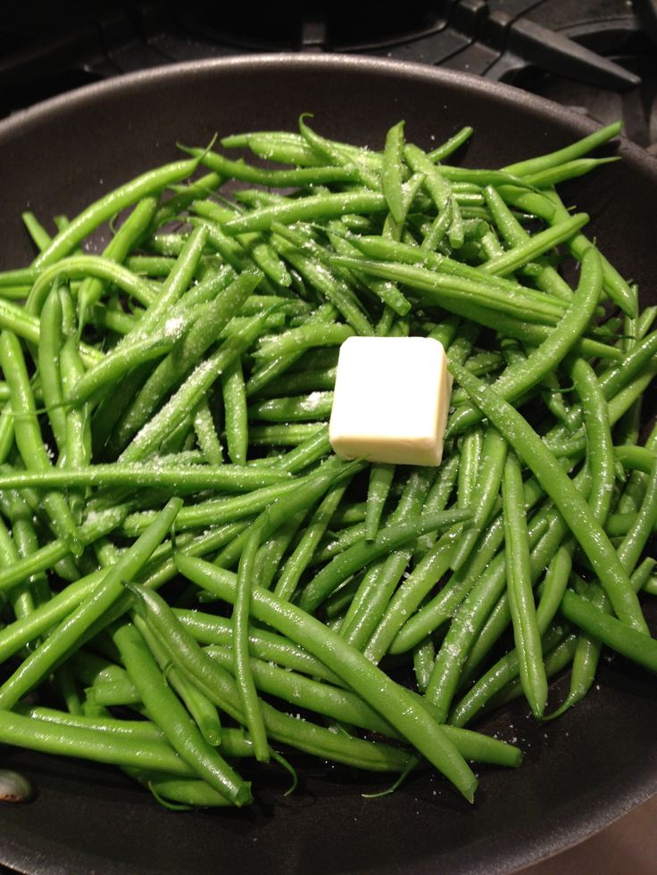 Skillet Steamed Green Beans:  Serves 4 ~ 1 lb. green beans, stem-ends trimmed; 2 tablespoons butter; ½ cup water; ¼ salt (or to taste).  In a large skillet over medium-high heat, add all ingredients and cover.  Cook 5 minutes.  Uncover & continue cooking until desired softness is reached. (Just a couple of min.)