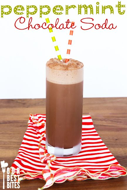 Peppermint old-fashioned chocolate soda from Our Best Bites