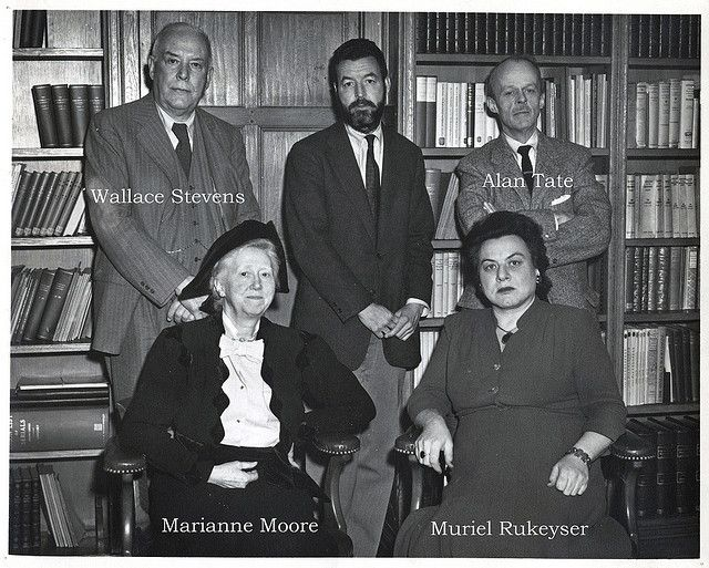 Photograph: Randall Jarrell in the center, Wallace Stevens, Alan Tate, Marianne Moore, Muriel Rukeyser,1955