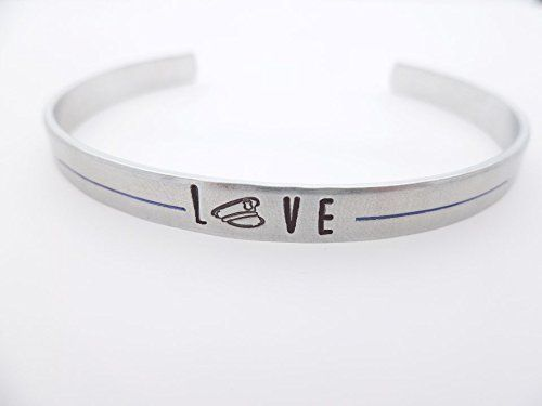 Police Thin Blue Line  I love my police officer Police Patrol State Police Hand stamped bracelet cuff Police officer Wife Police girlfriend * See this great product.Note:It is affiliate link to Amazon.