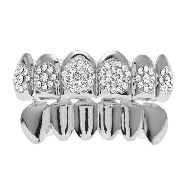 [FULL SET] ROUND ICE ROCKS SILVER GRILLZ