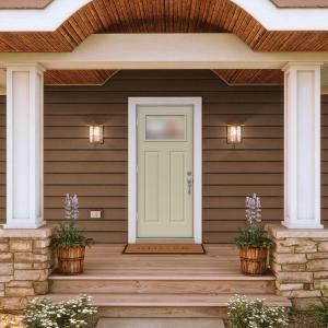 JELD WEN 34 In. X 80 In. 1 Lite Craftsman Desert Sand Painted Steel Prehung  Right Hand Outswing Front Door W/Brickmould
