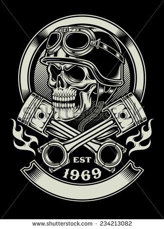 Vintage Biker Skull With Crossed Piston Emblem - stock vector