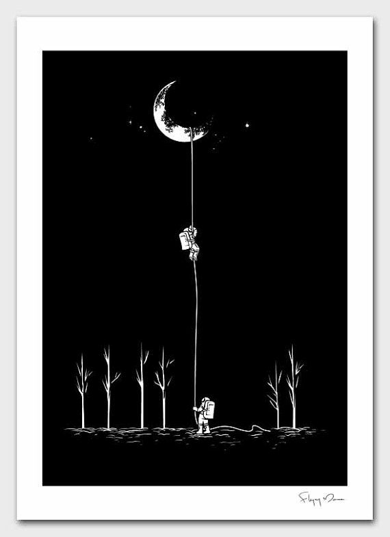 Reach for the moonSpaces, Climbing, Reach, Inspiration, Moon, Stars, Illustration Art, Design, The Moon