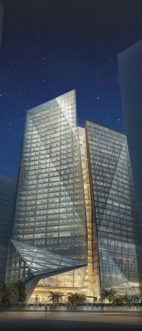 Samba Bank Tower, Riyadh, Saudi Arabia designed by HOK Architects :: 37 floors, height 165m :: proposal  Studio 4