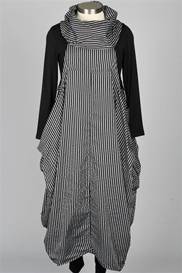 Dress To Kill - Cowl Dress - Black & Grey Stripe