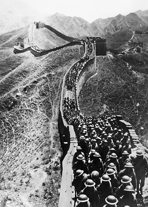Chinese troops marching on The Great Wall near Peiping during the Second Sino-Japanese War. Photographed 28 October 1937.