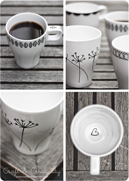 Pintar y decorar tazas http://blog-telaylana.blogspot.com.es/2014/04/pintar-y-decorar-tazas.html
