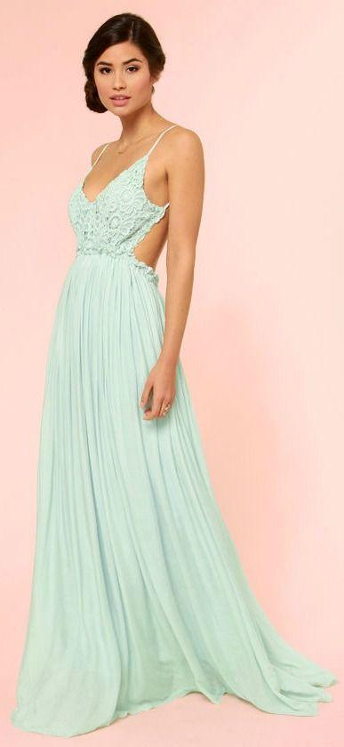Crocheted Mint Maxi Dress #formal #backless